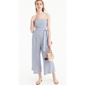 J. CREW NWOT Beauchamps Stripe Wide Linen Jumpsuit